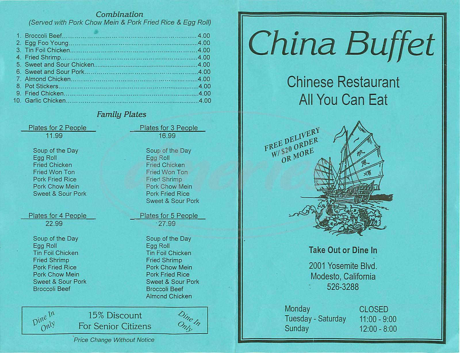 menu for China Buffet