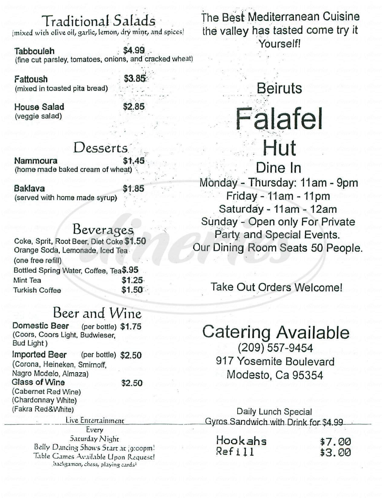 menu for Beiruts Falafel Hut