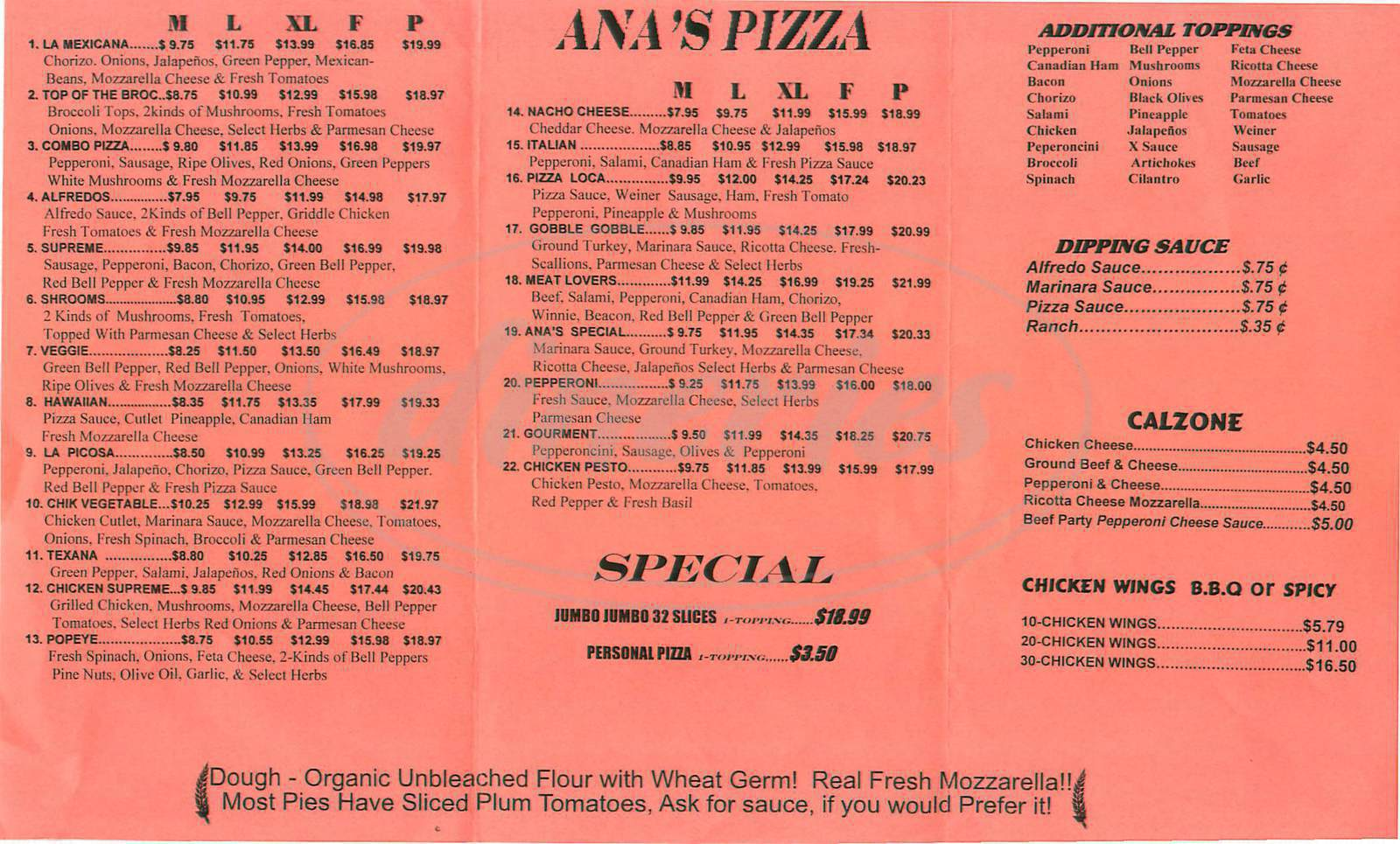 menu for Ana's Pizza