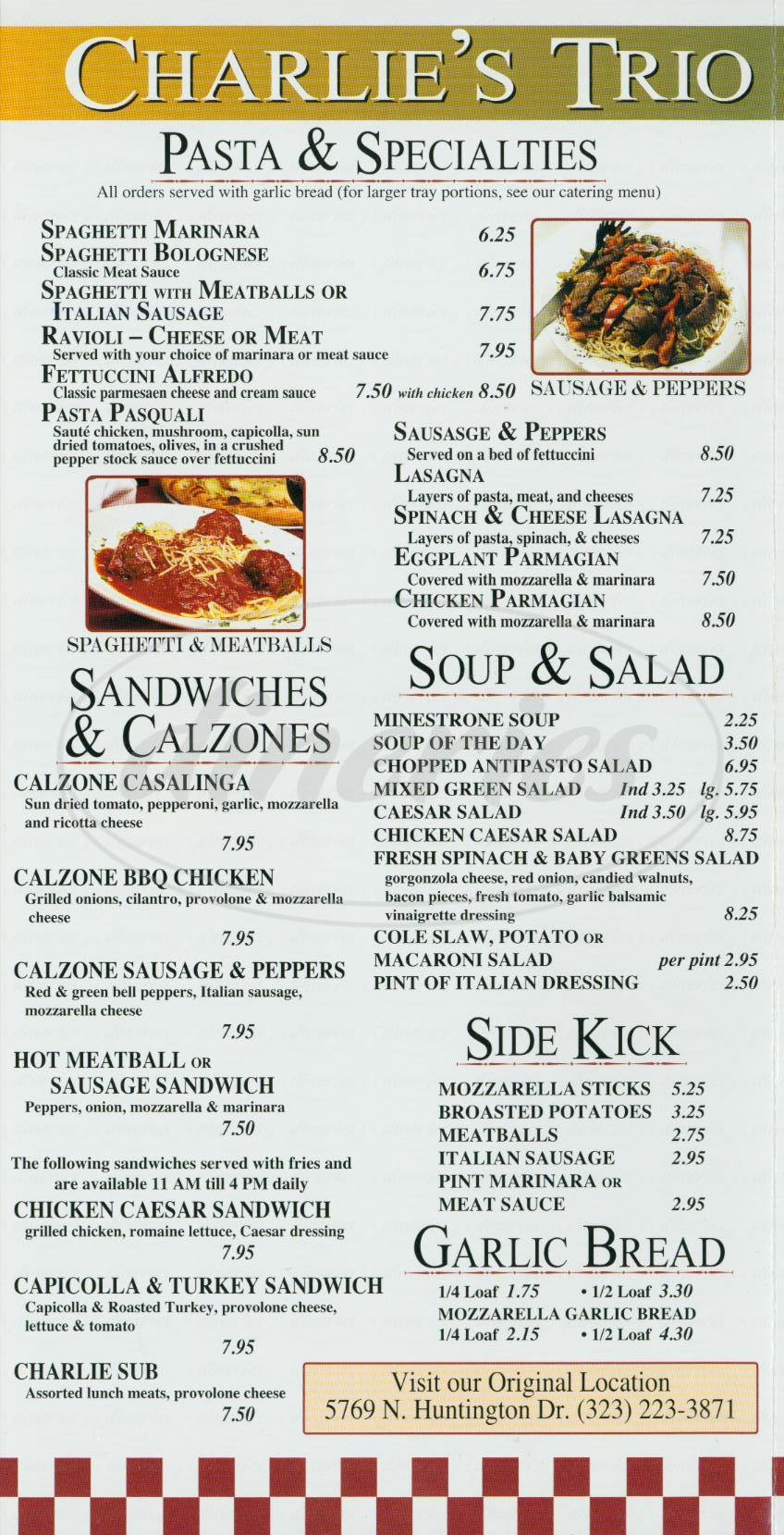 menu for Charlies Trio Café