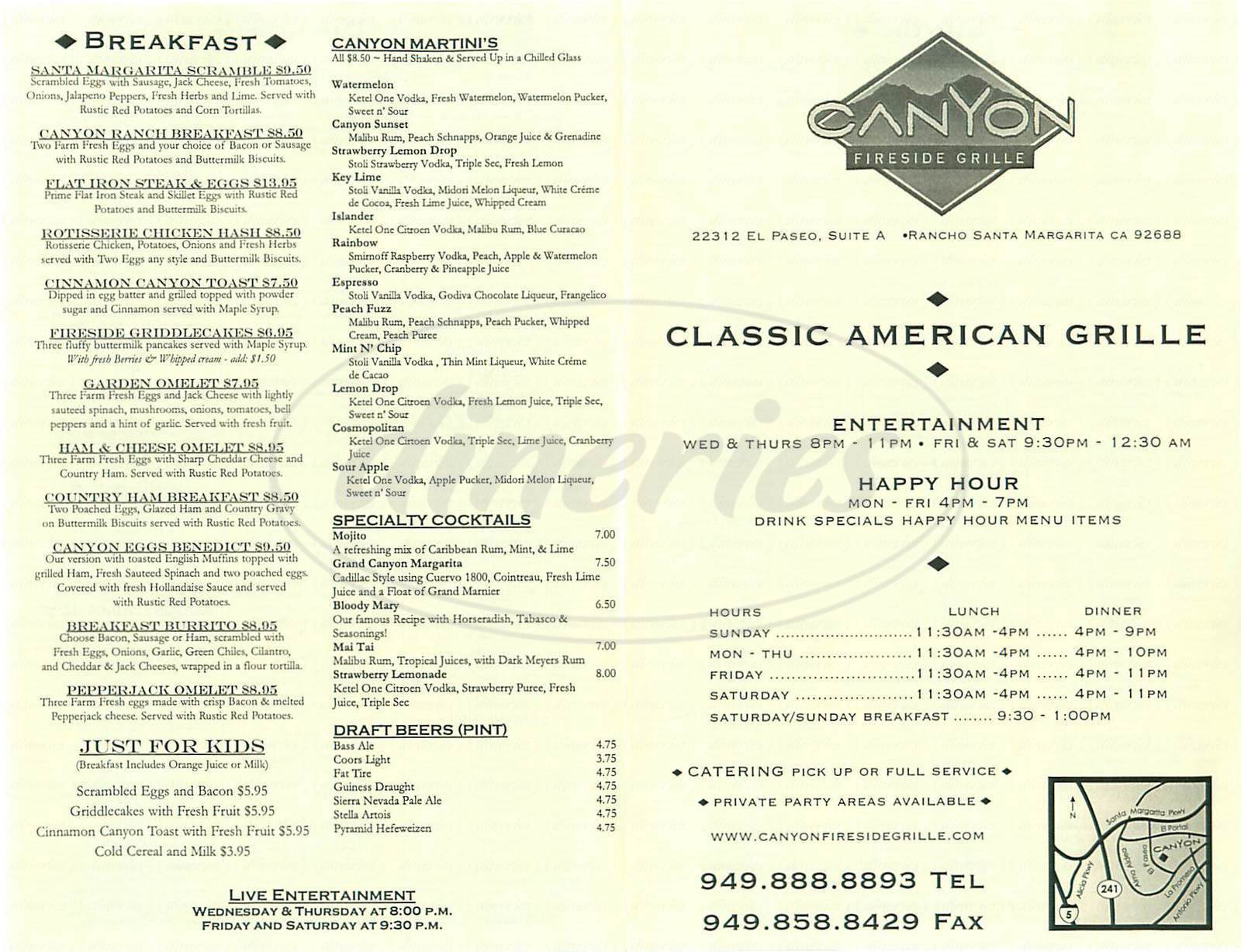 menu for Canyon Fireside Grille