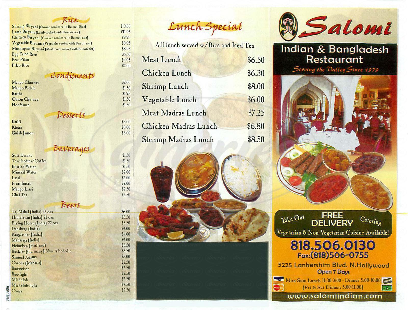 menu for Salomi Indian & Bangladesh Restaurant