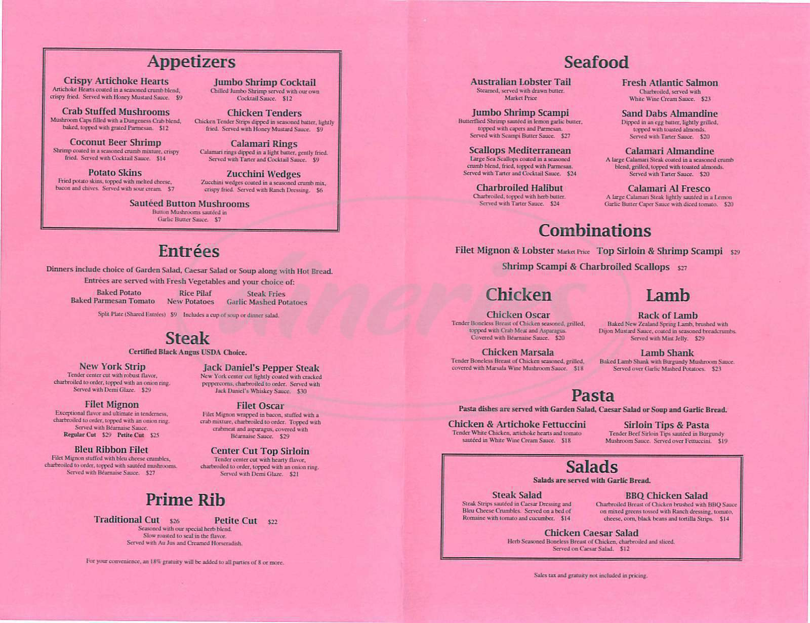 menu for Arbors Steak & Seafood