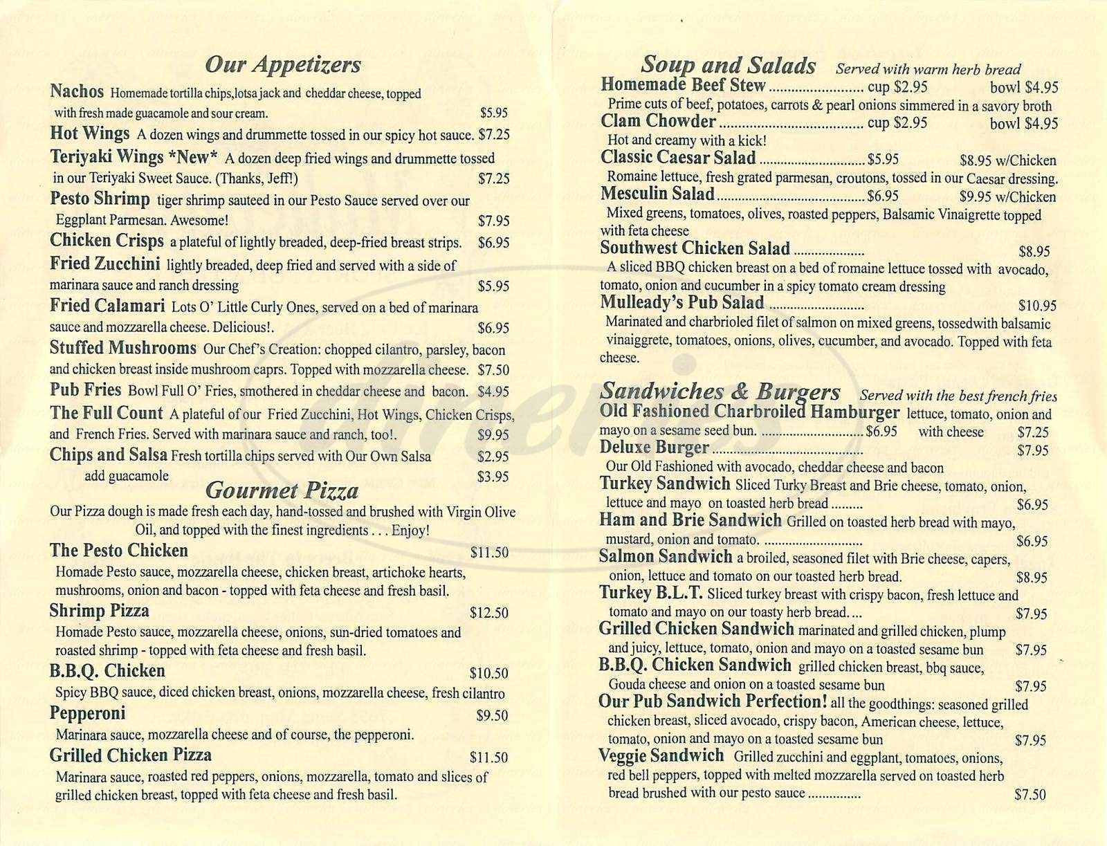 menu for Mulleady's Sports Pub & Grill