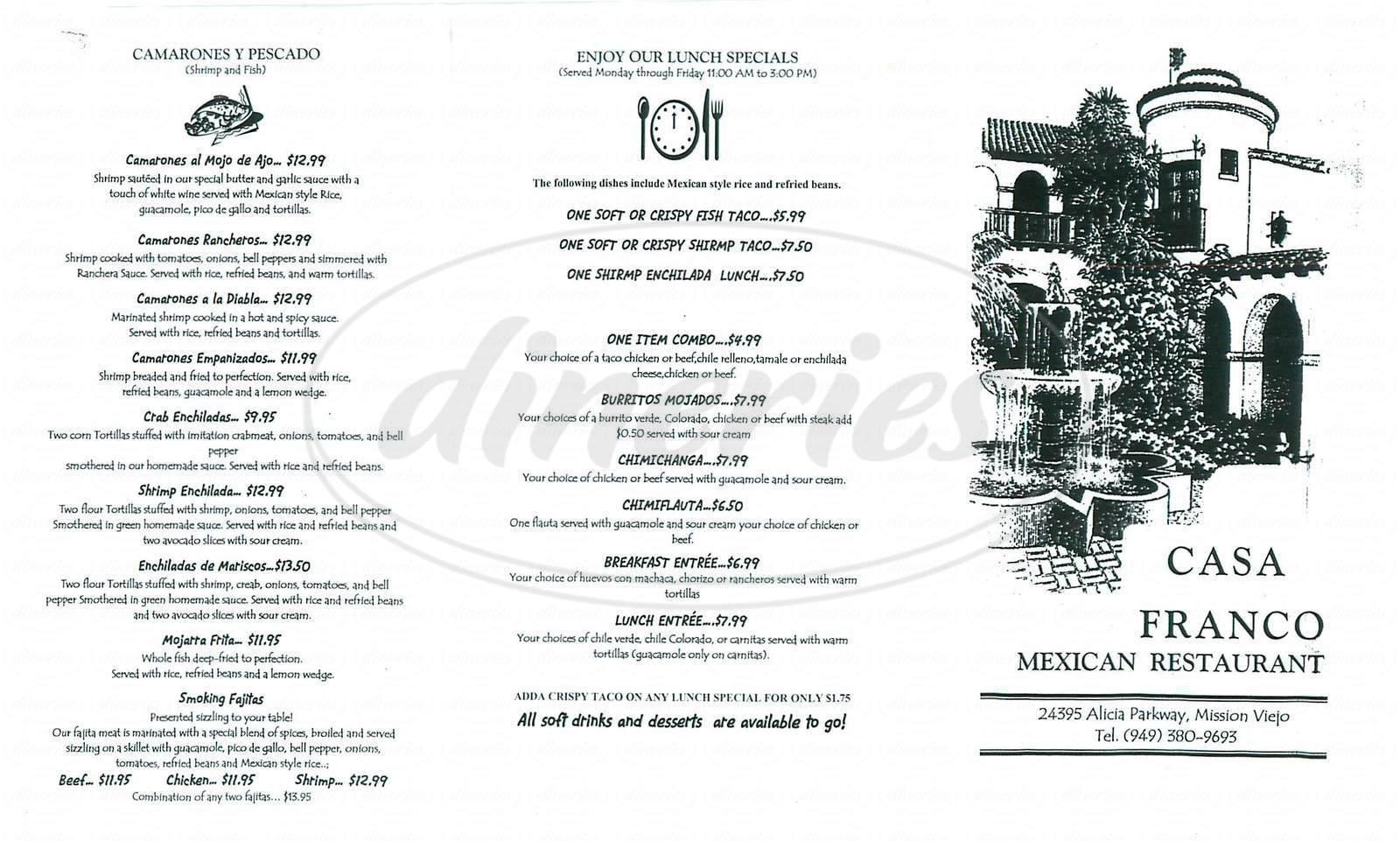 menu for Casa Franco