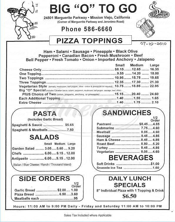menu for Big O to Go