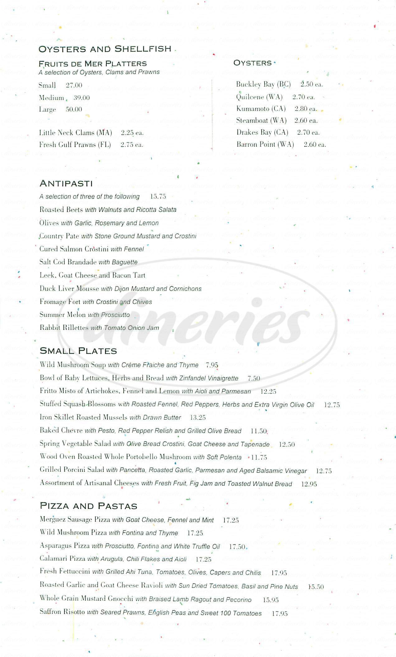 menu for Restaurant Lulu