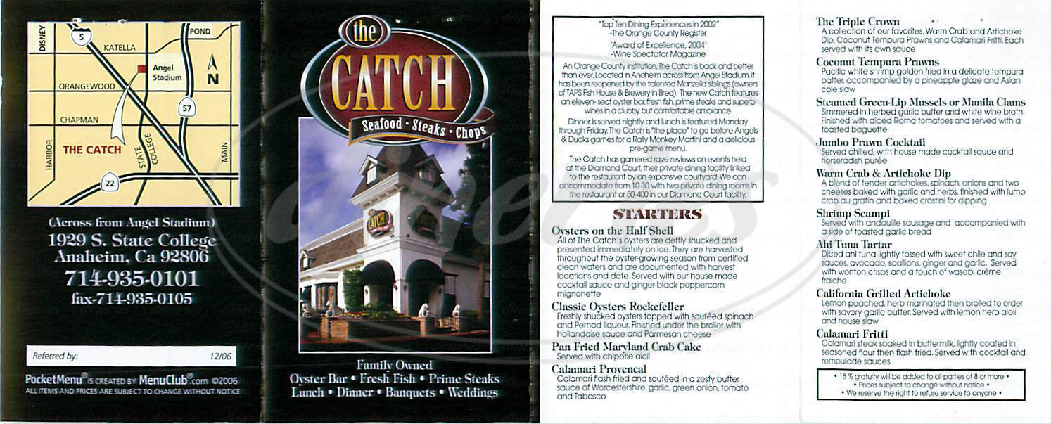 menu for The Catch