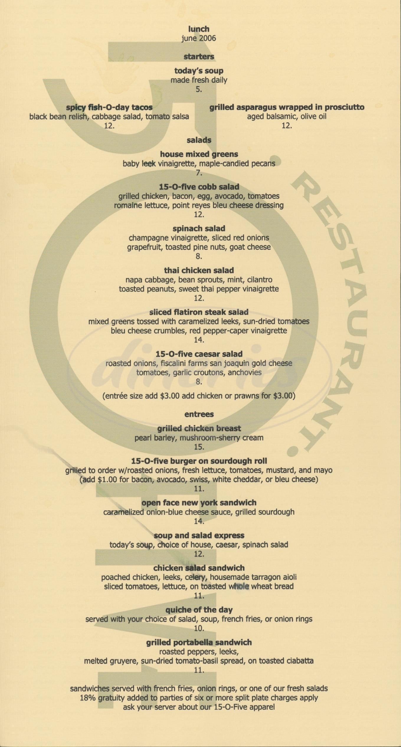 menu for Restaurant 15 O Five