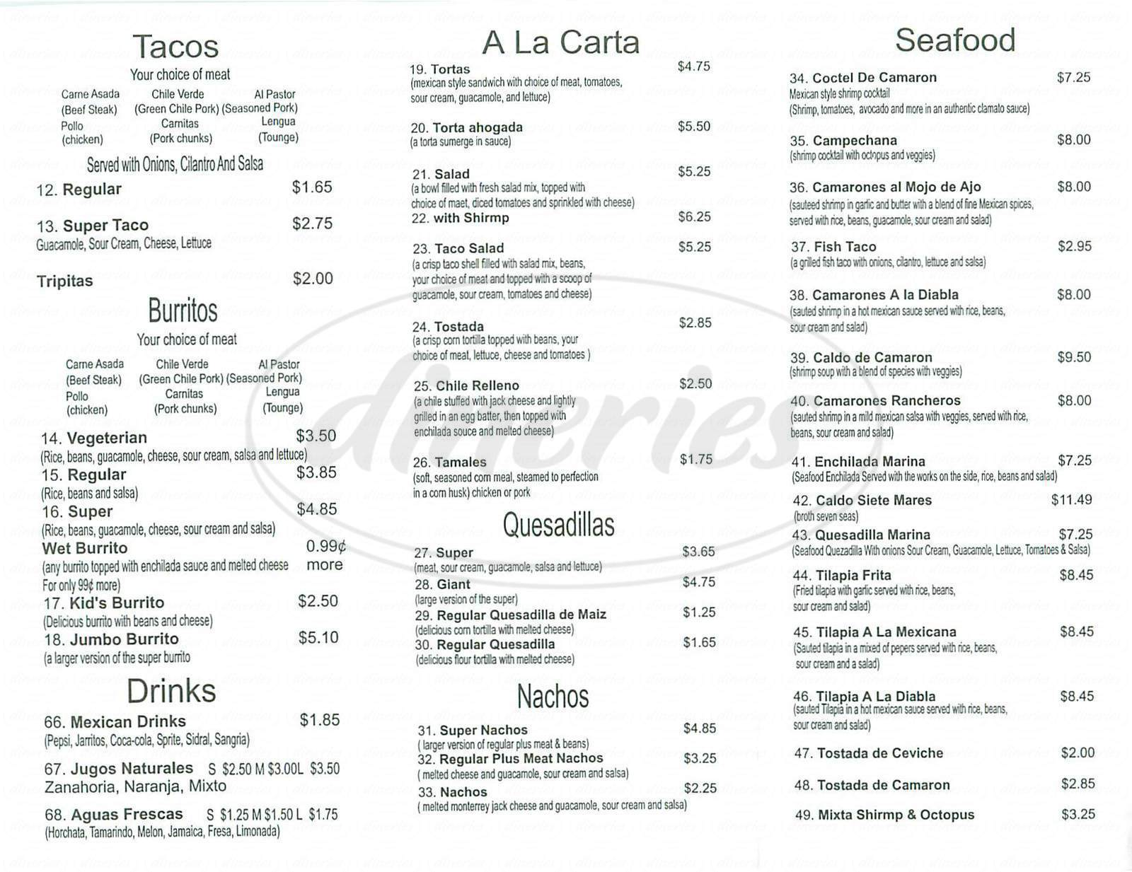 menu for Taqueria Guadalajara