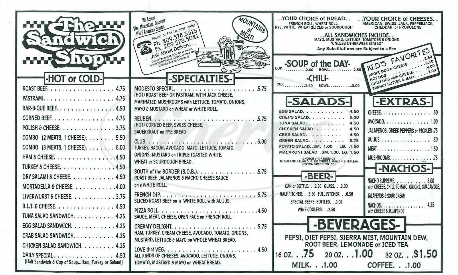 Big menu for The Sandwich Shop, Modesto