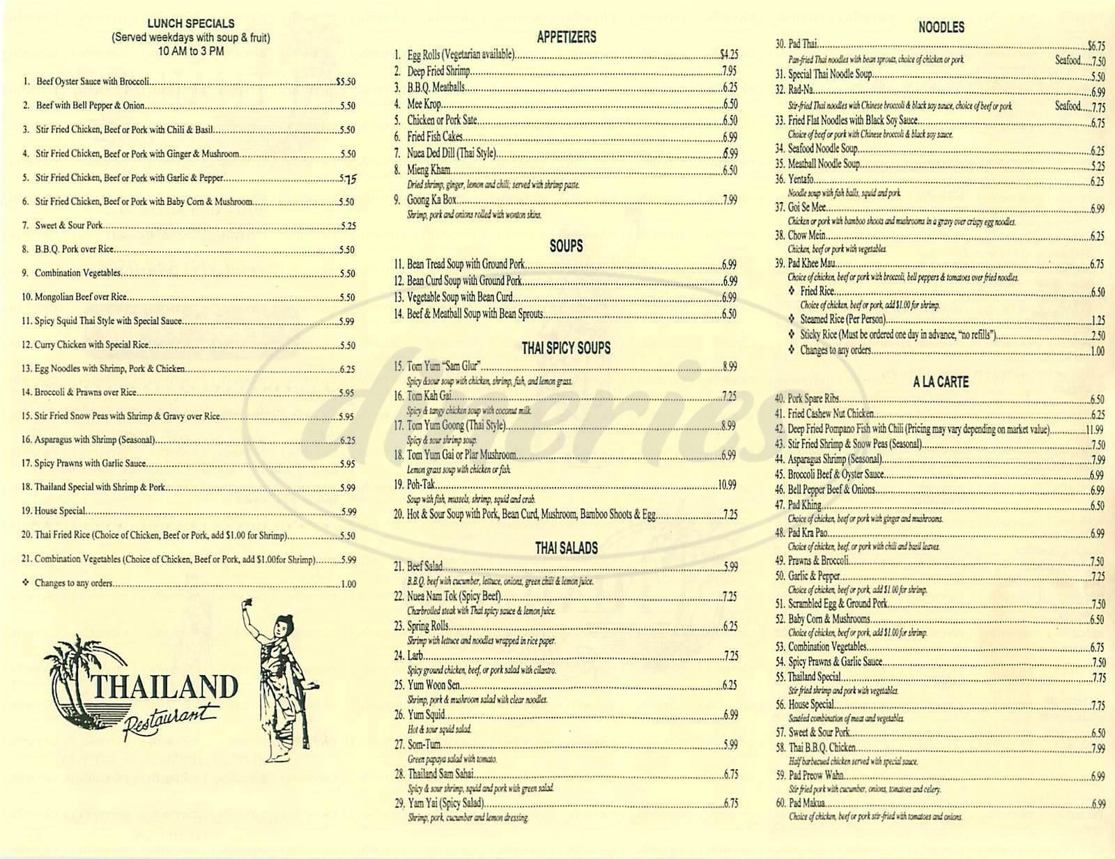 menu for Thailand Restaurant