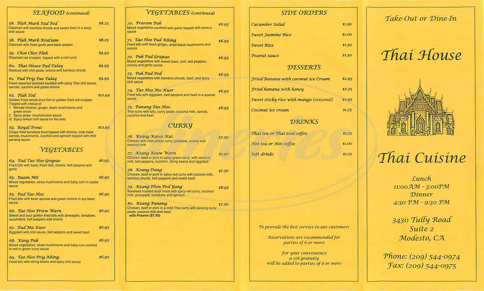 menu for Thai House