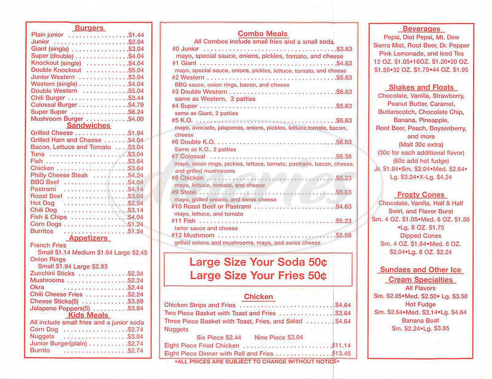 menu for Sno White Drive In