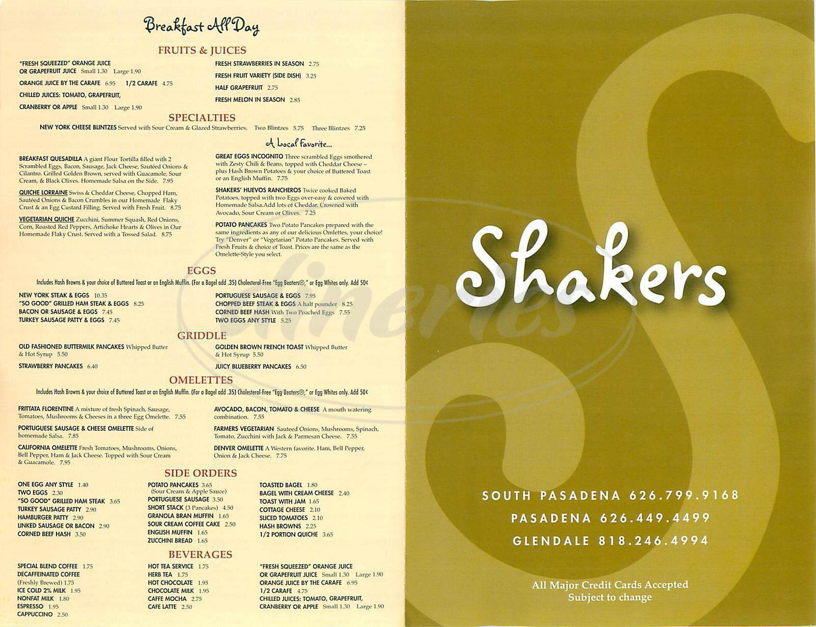 menu for Shakers