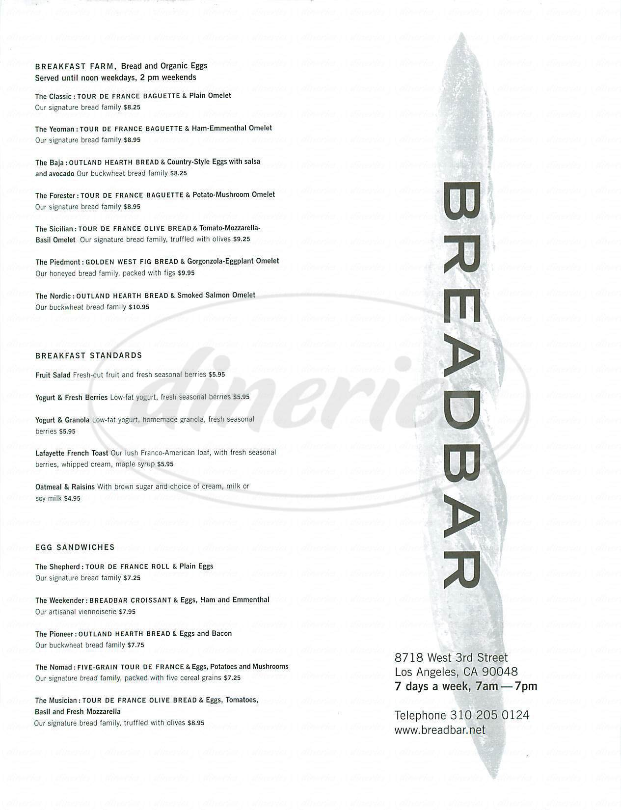 menu for The Bread Bar