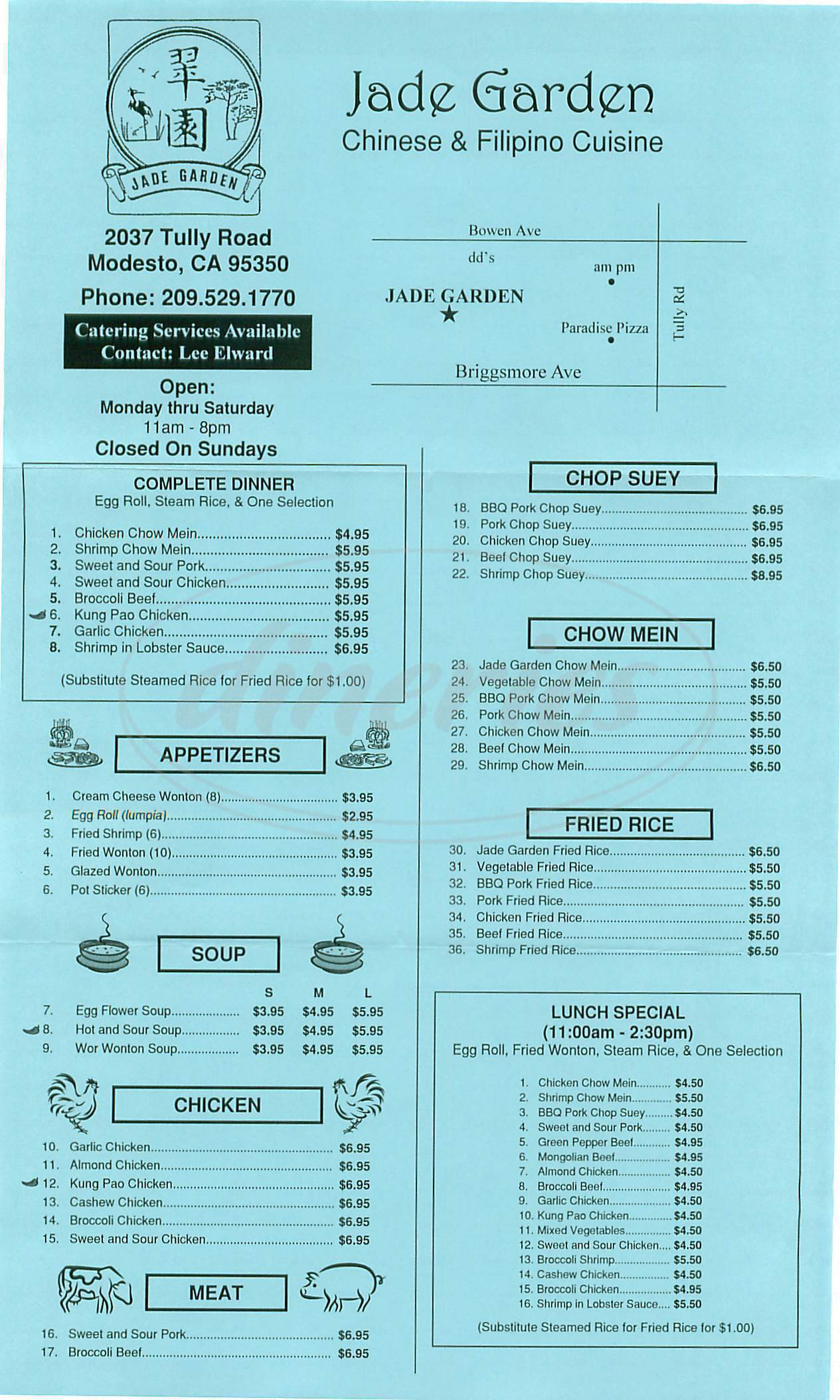 menu for Jade Garden