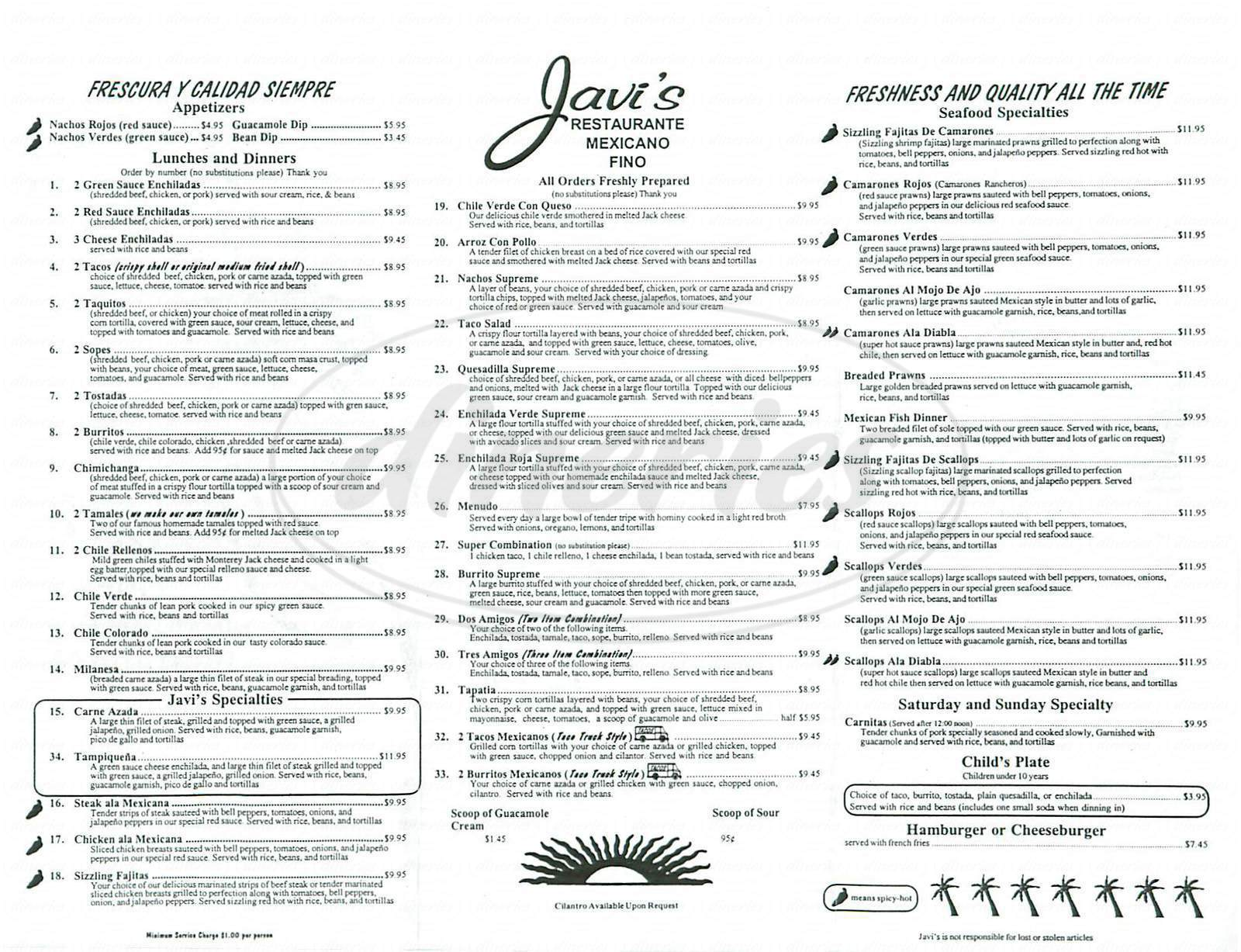 menu for Javi's Fine Mexican Food Restaurant