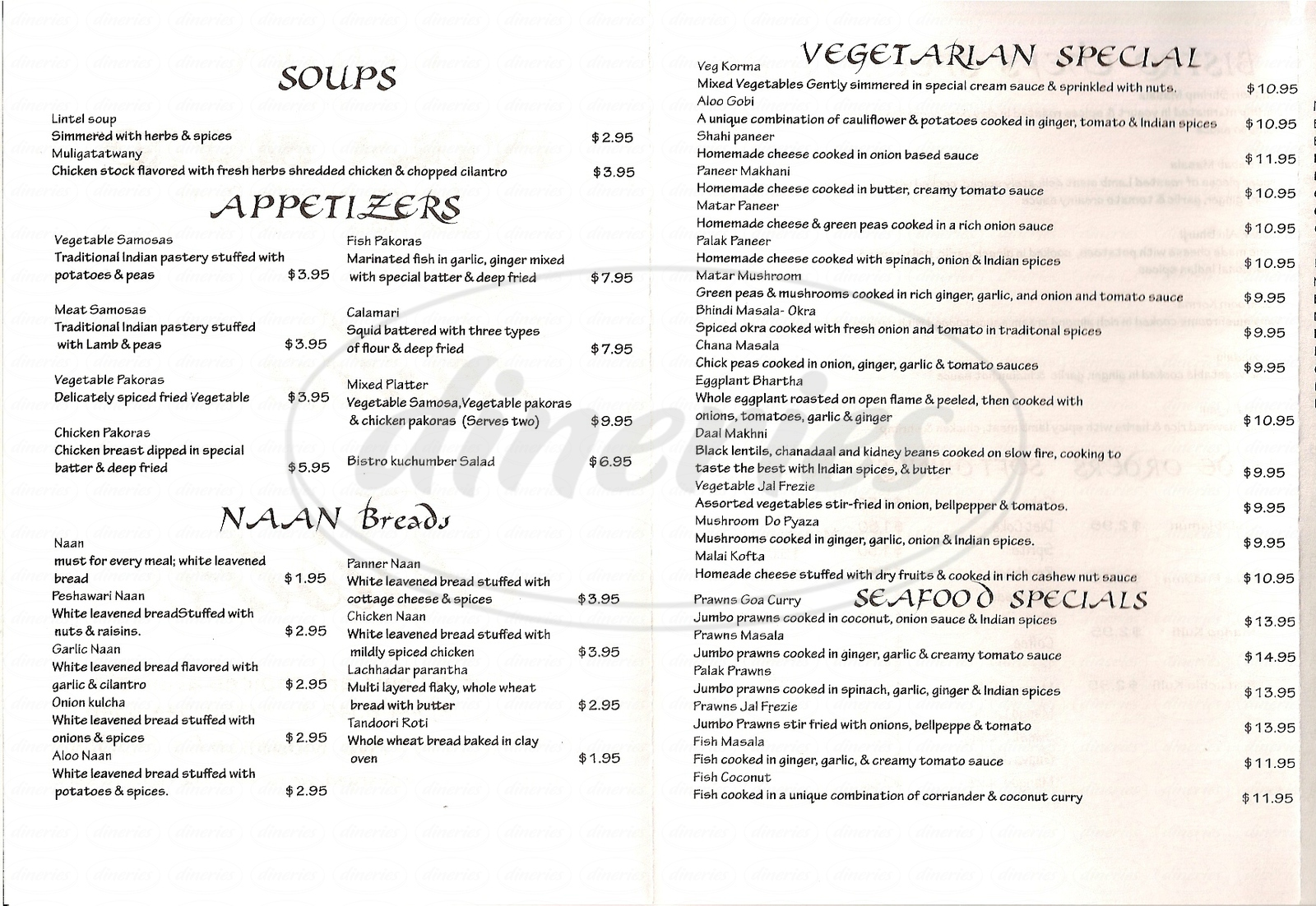 menu for India Bistro