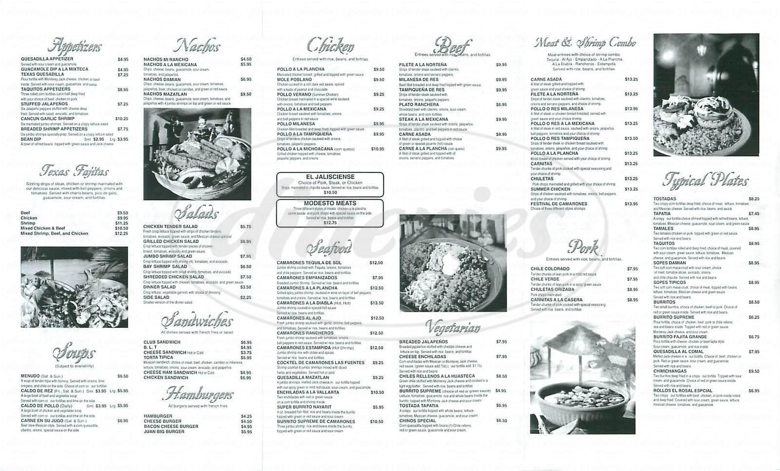 menu for El Rosal