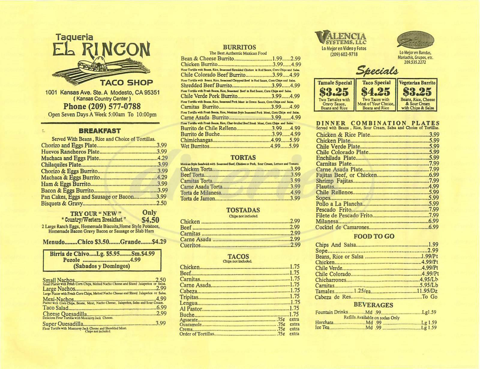 menu for Taqueria El Rincon