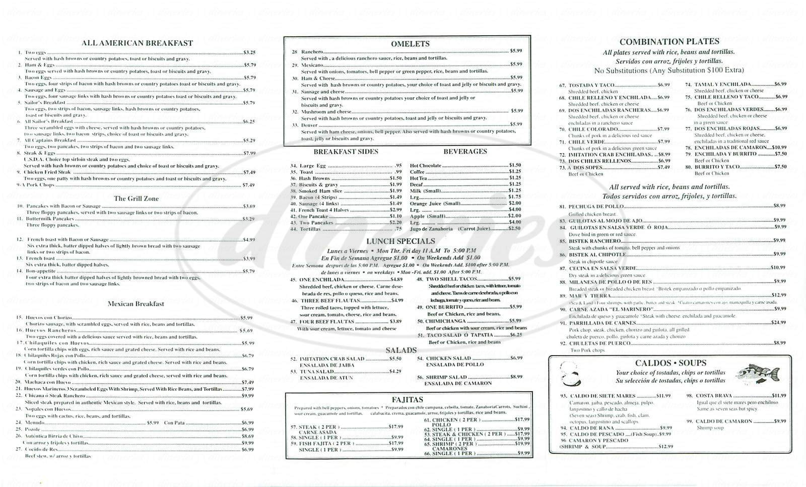 menu for El Marinero Restaurant