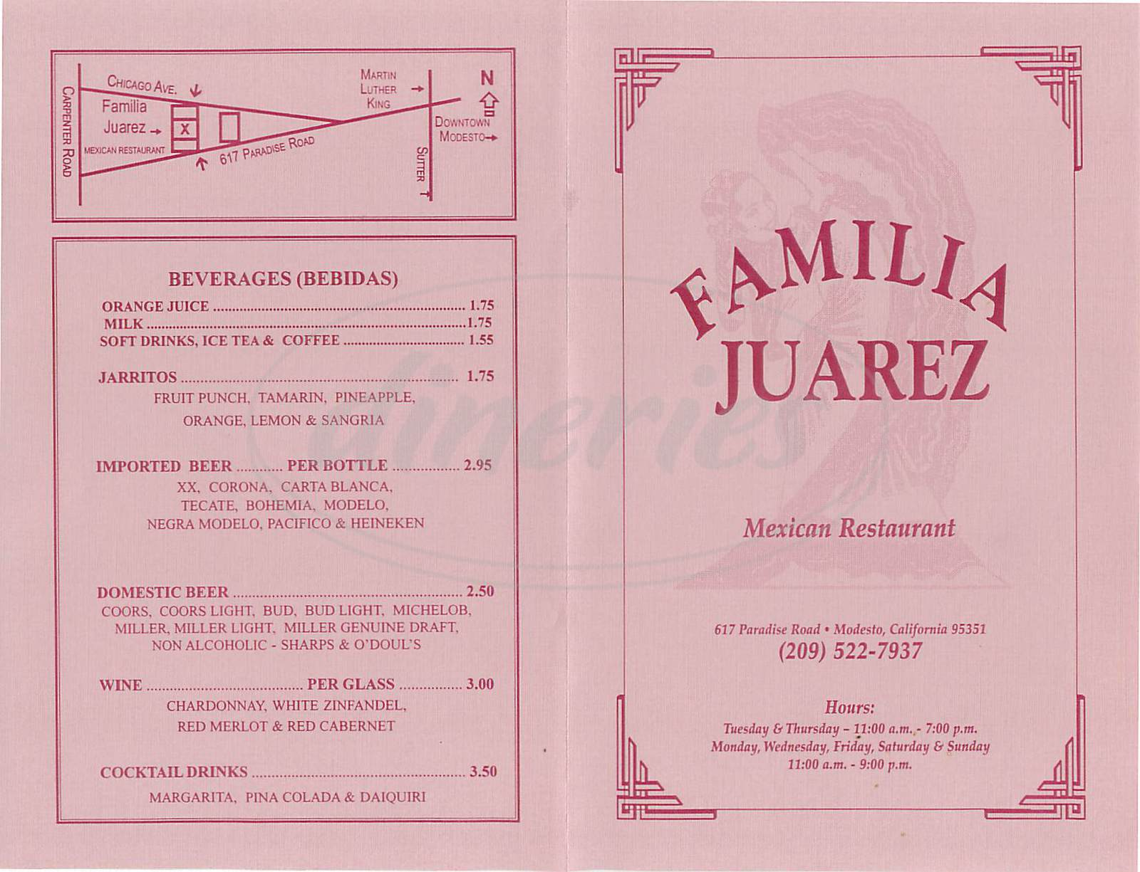 menu for Familia Juarez