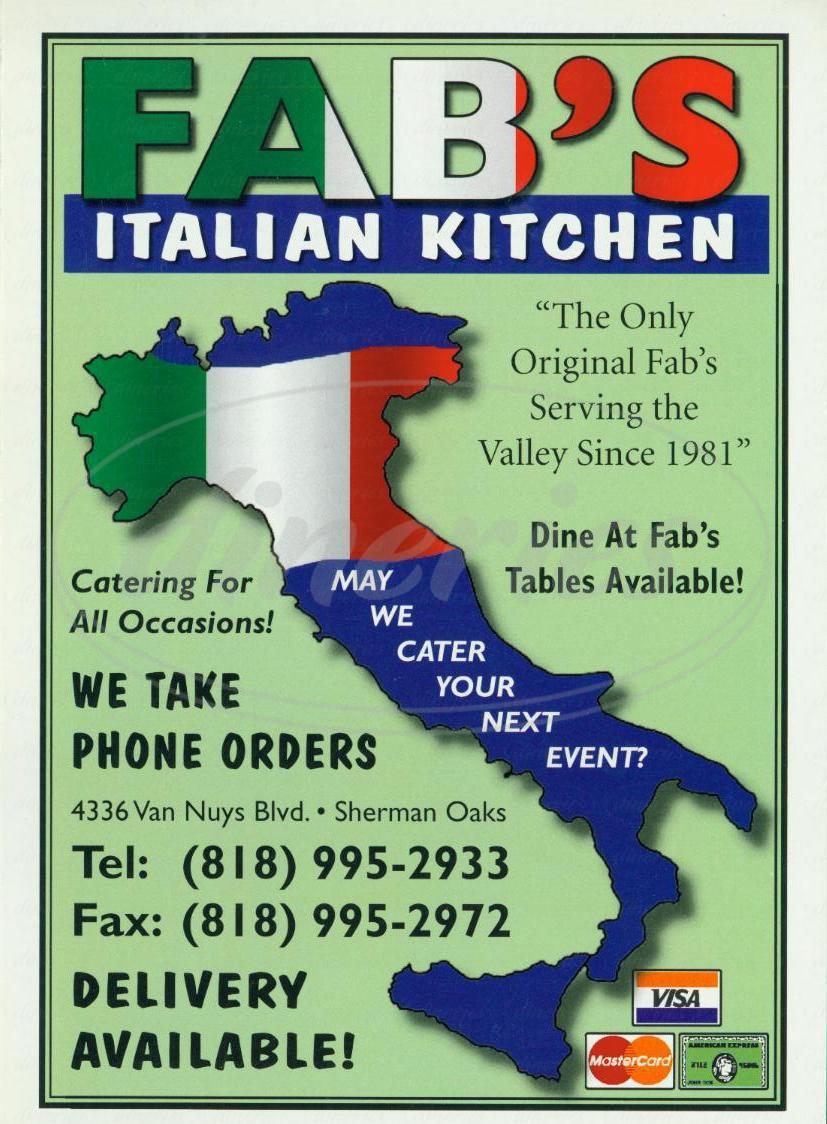 menu for Fab's Italian Kitchen
