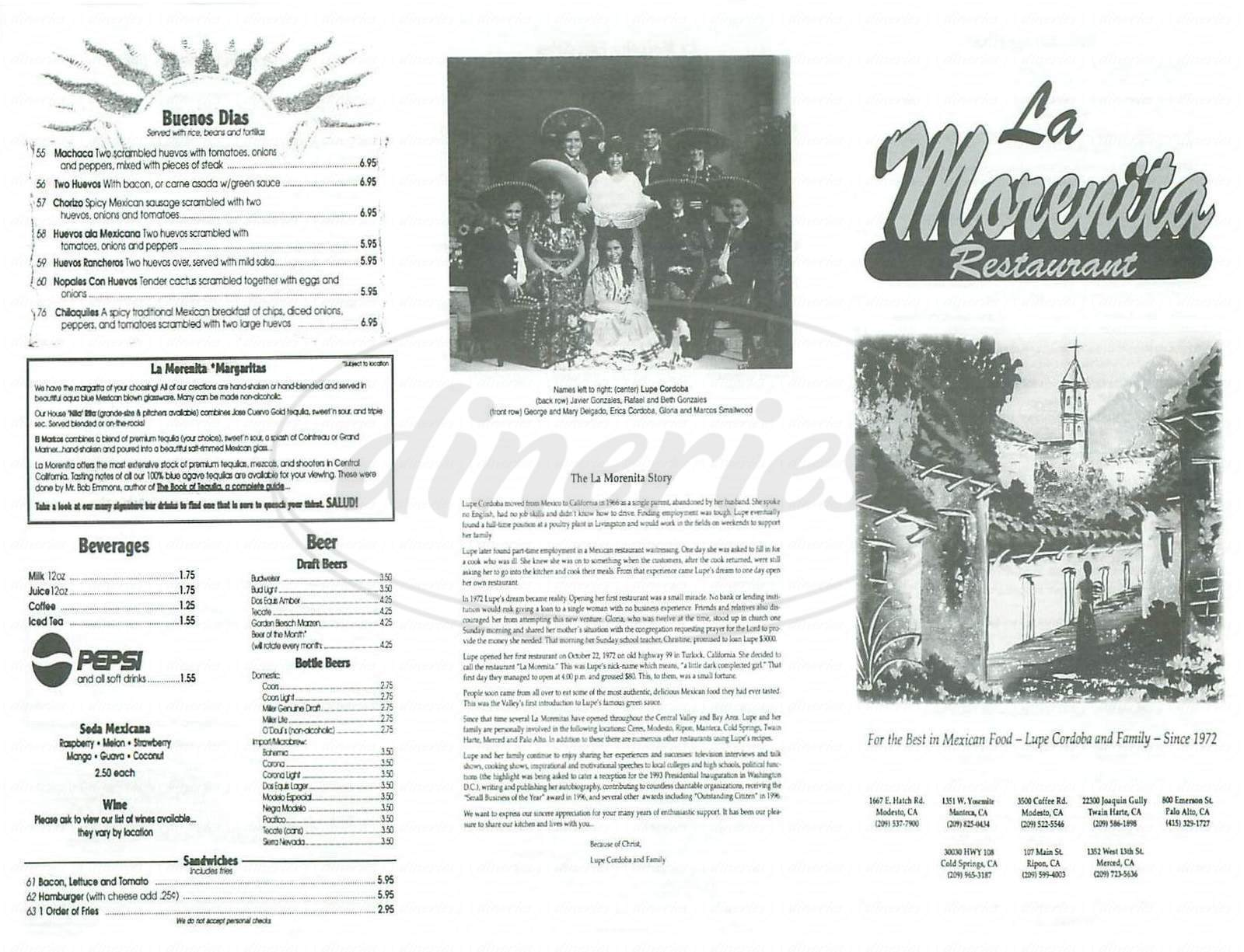 menu for La Morenita