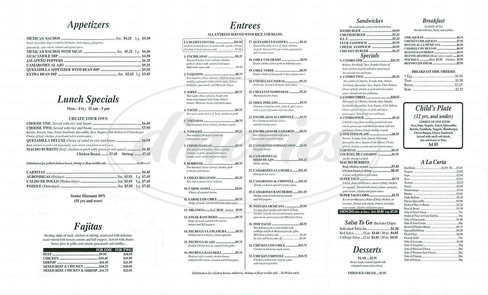 menu for La Huerta Vieja