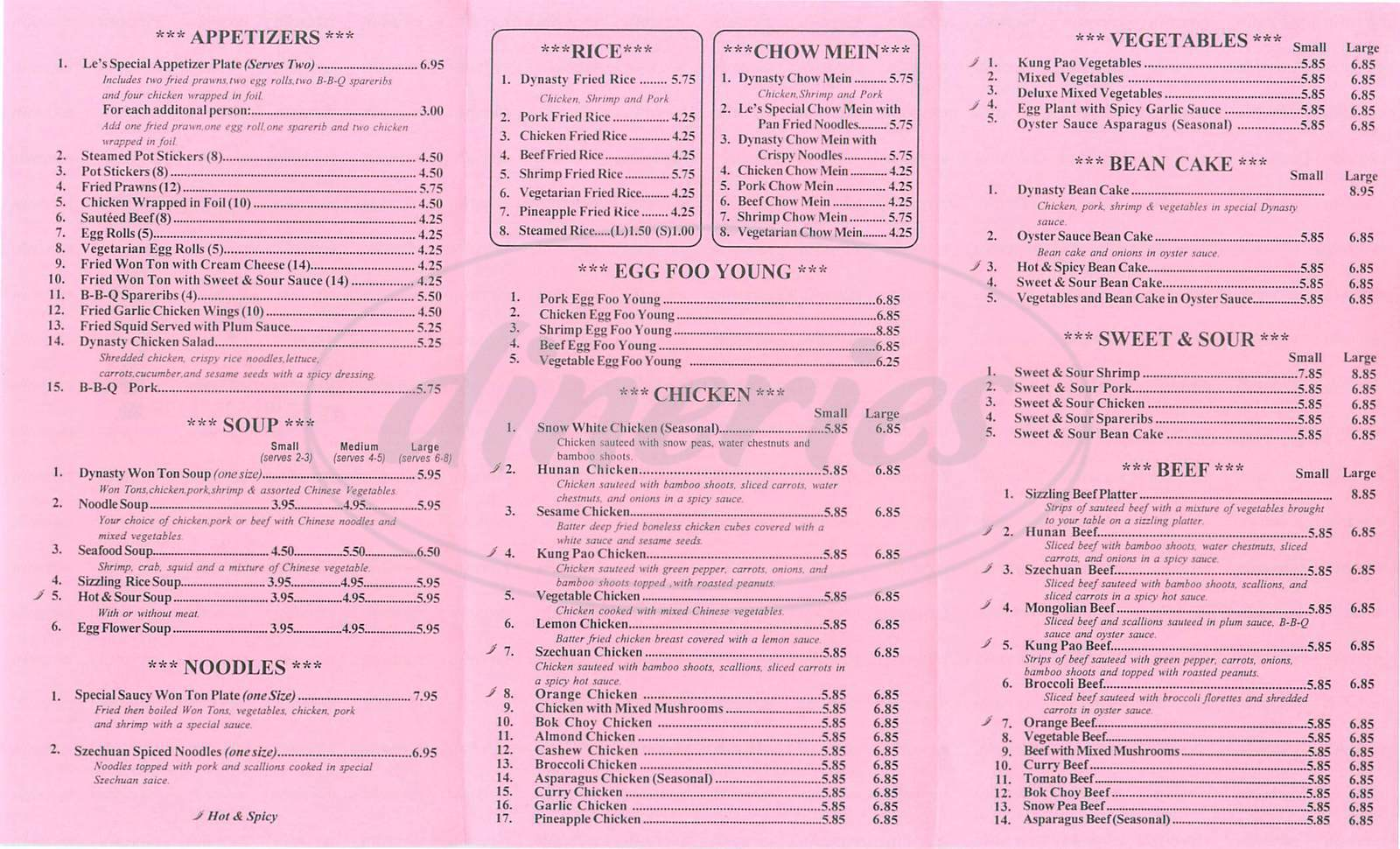 menu for Le's Dynasty