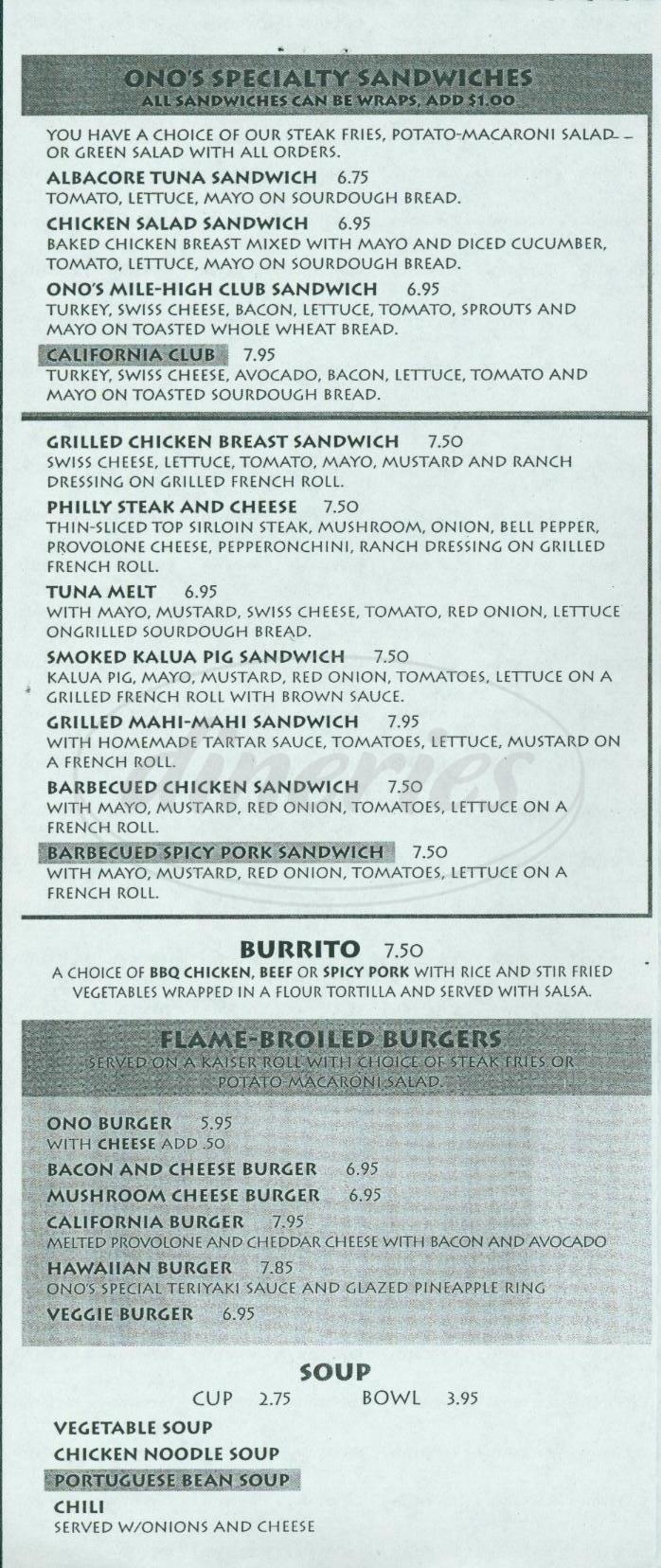 menu for Ono Ono