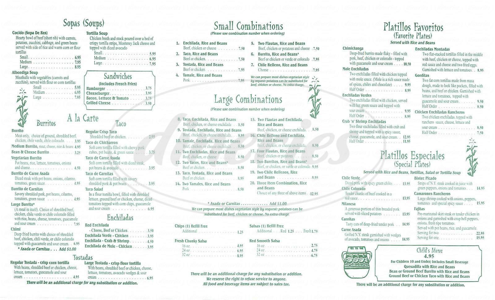 menu for la Milpa Mexican Restaurant
