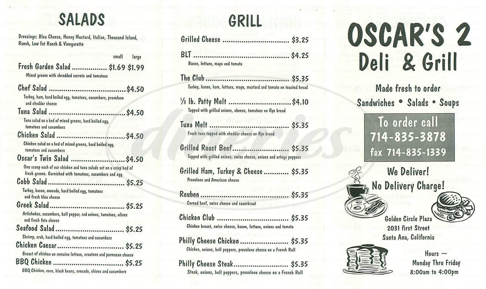 menu for Oscars Deli & Grill No 2