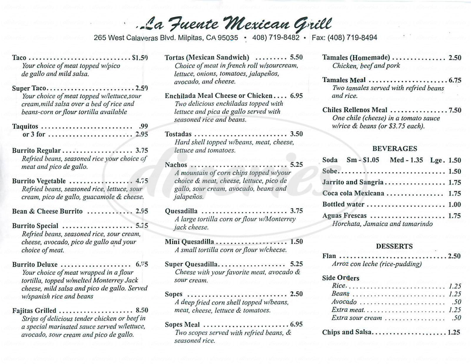 menu for la Fuente Mexican Grill