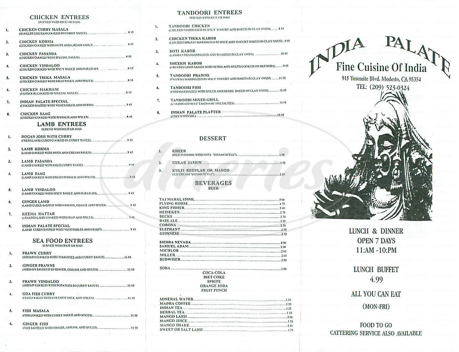 menu for India Palate Fine Cuisine of India