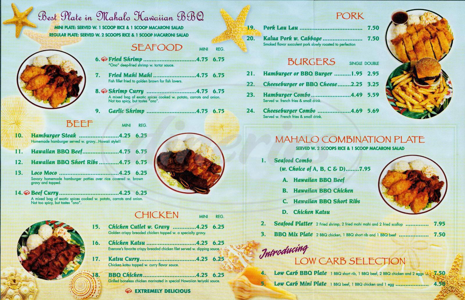 Big menu for Mahalo Hawaii BBQ, Milpitas