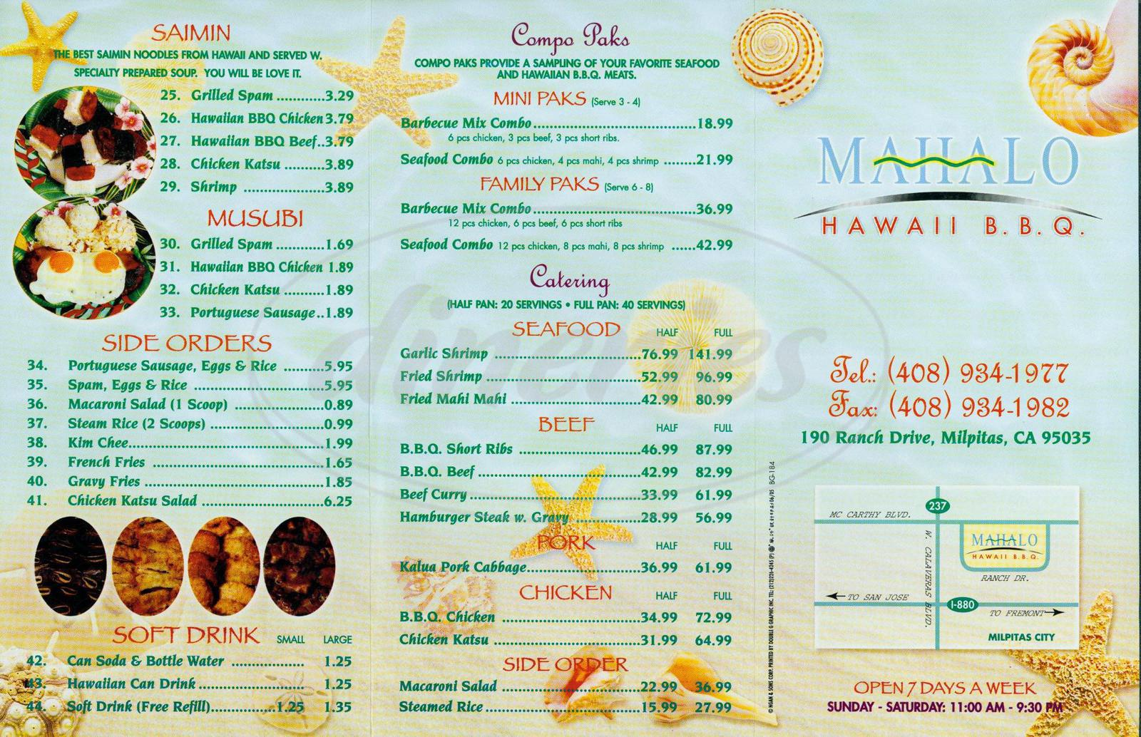 menu for Mahalo Hawaii BBQ