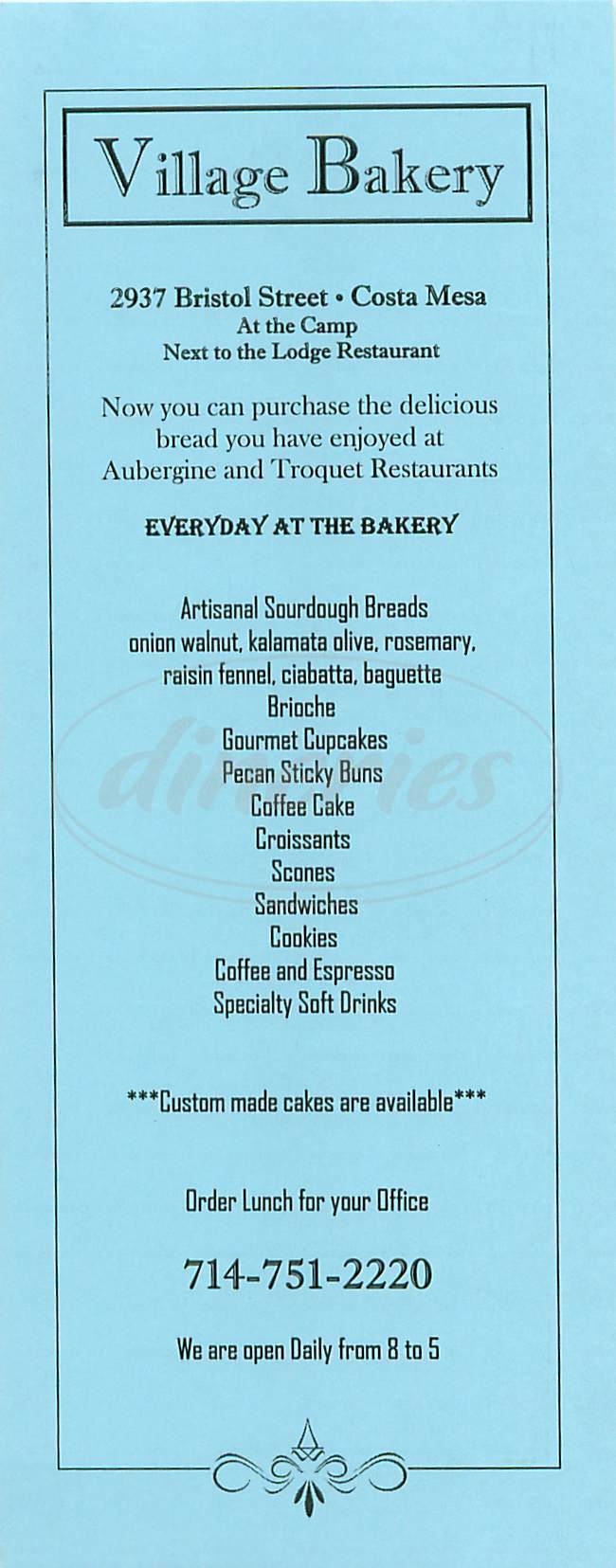 menu for Village Bakery