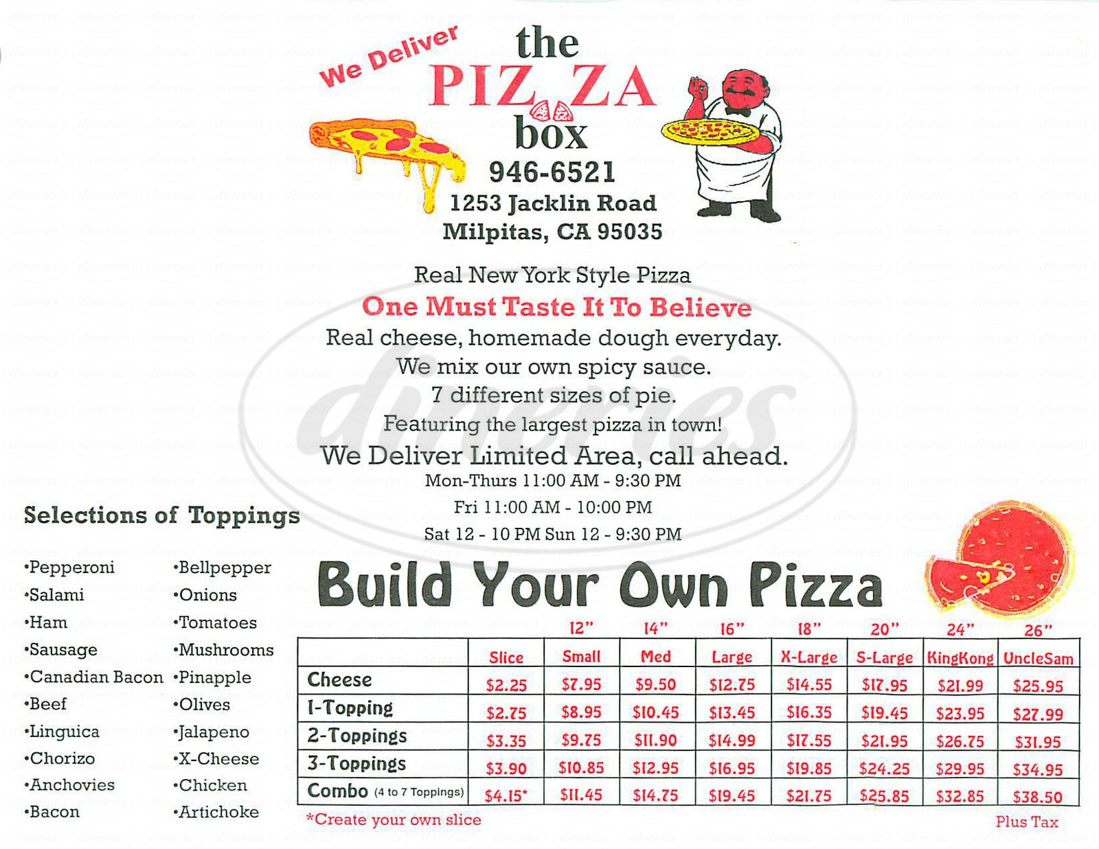 menu for The Pizza Box