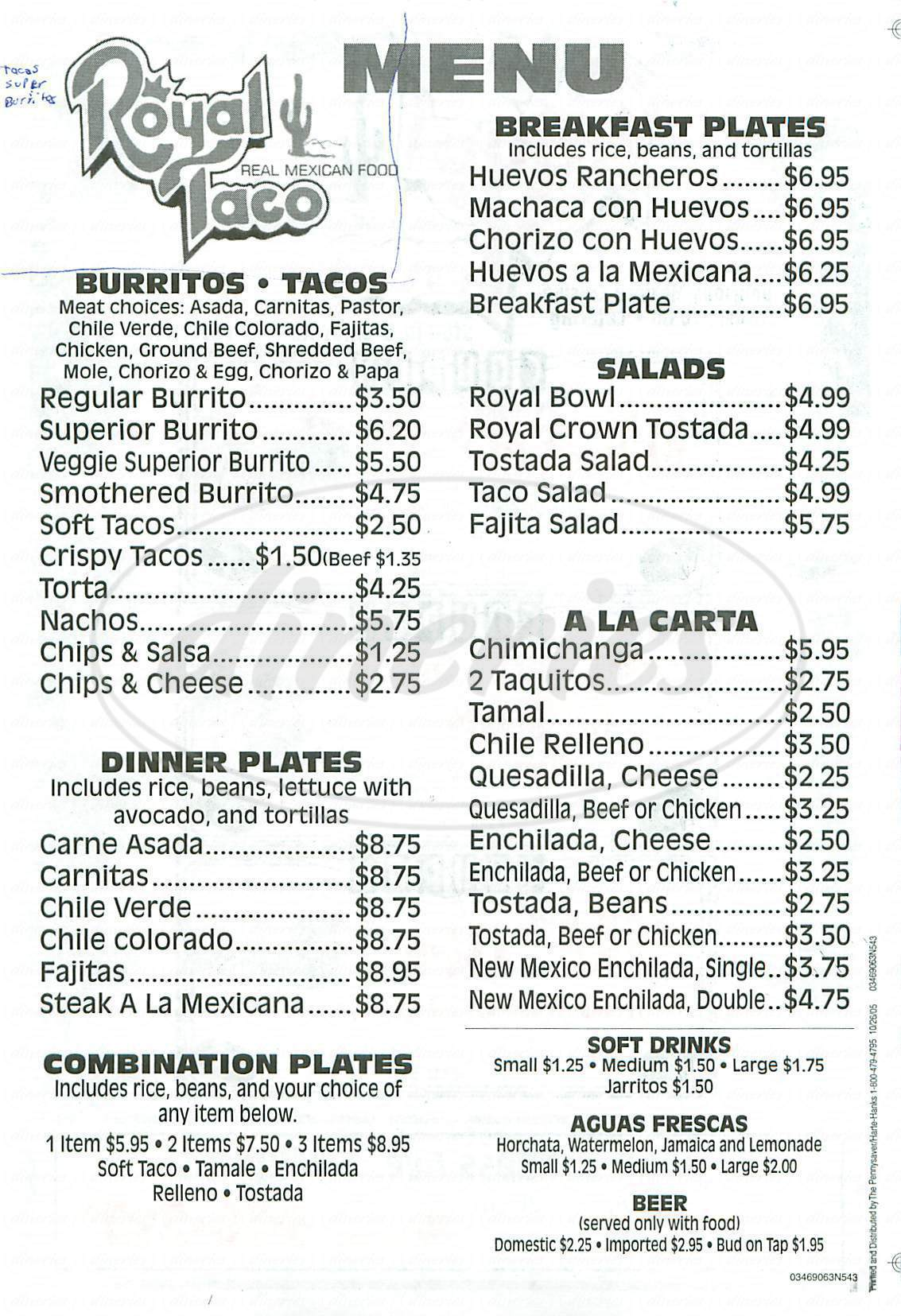menu for Royal Taco Mexican Food