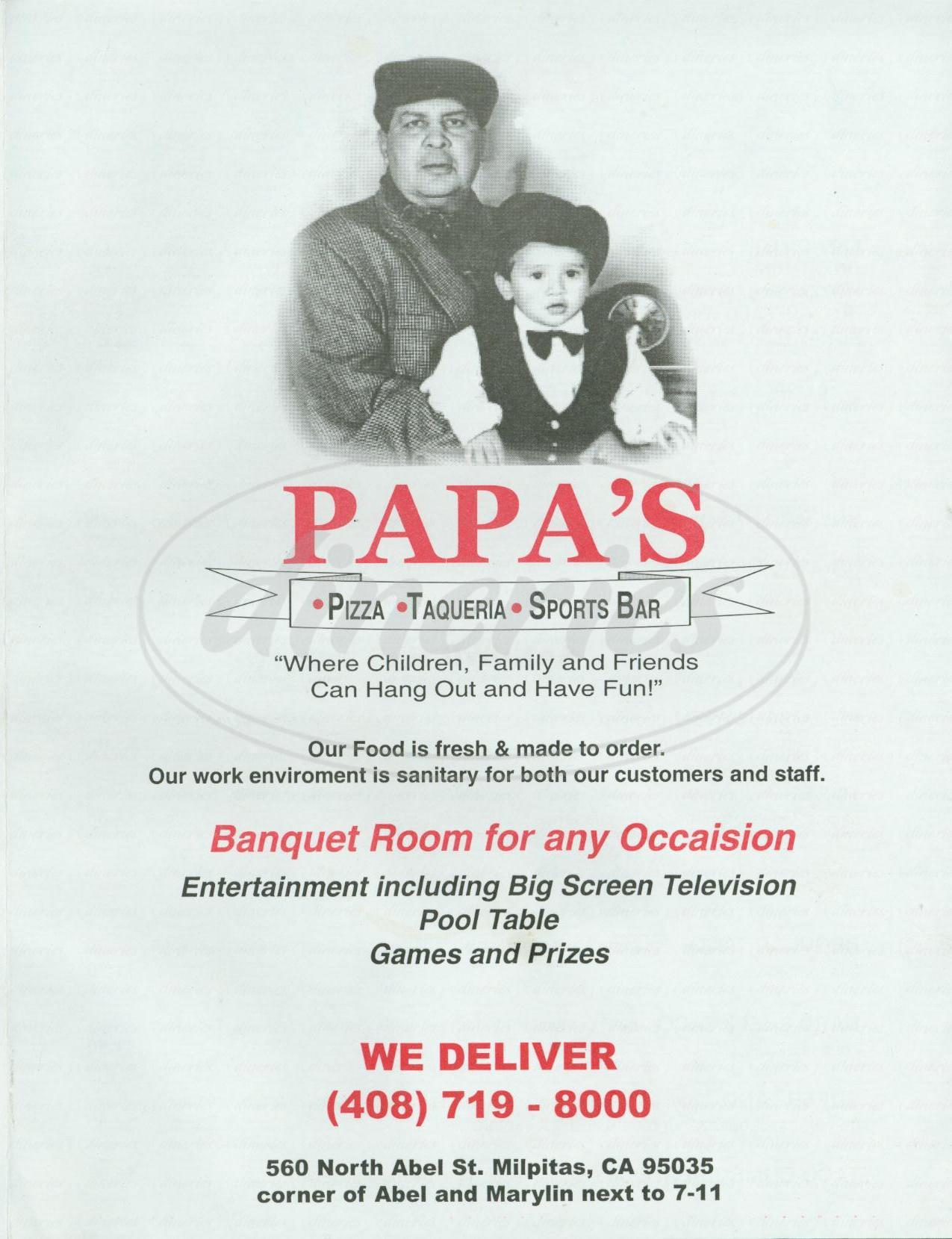 menu for Papa's