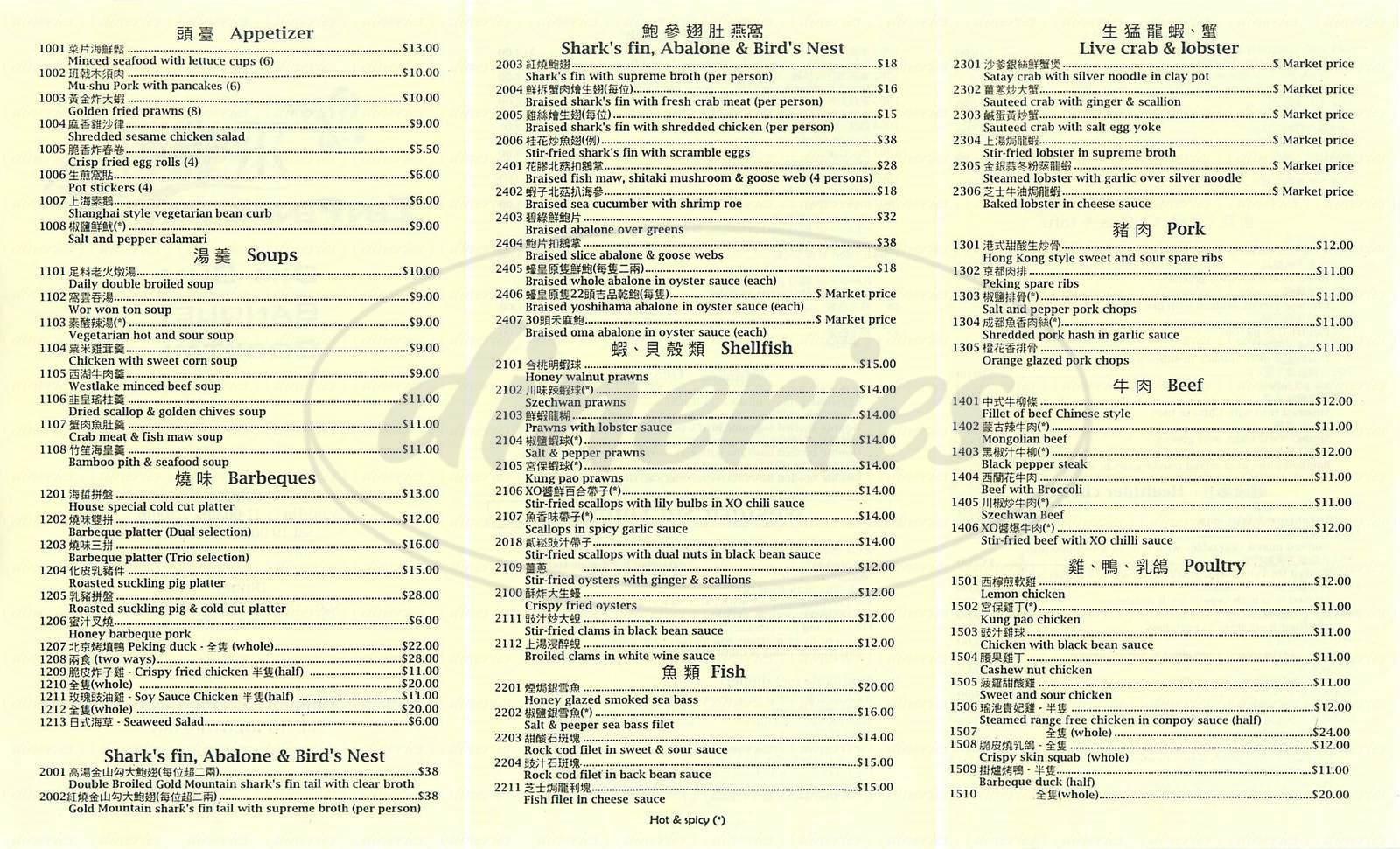 menu for Zen Peninsula
