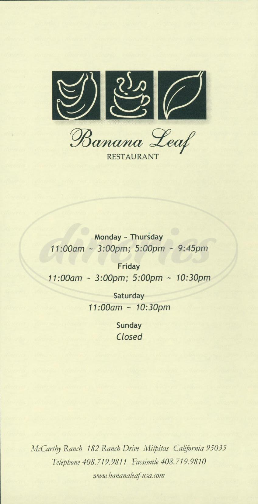 menu for Banana Leaf Restaurant