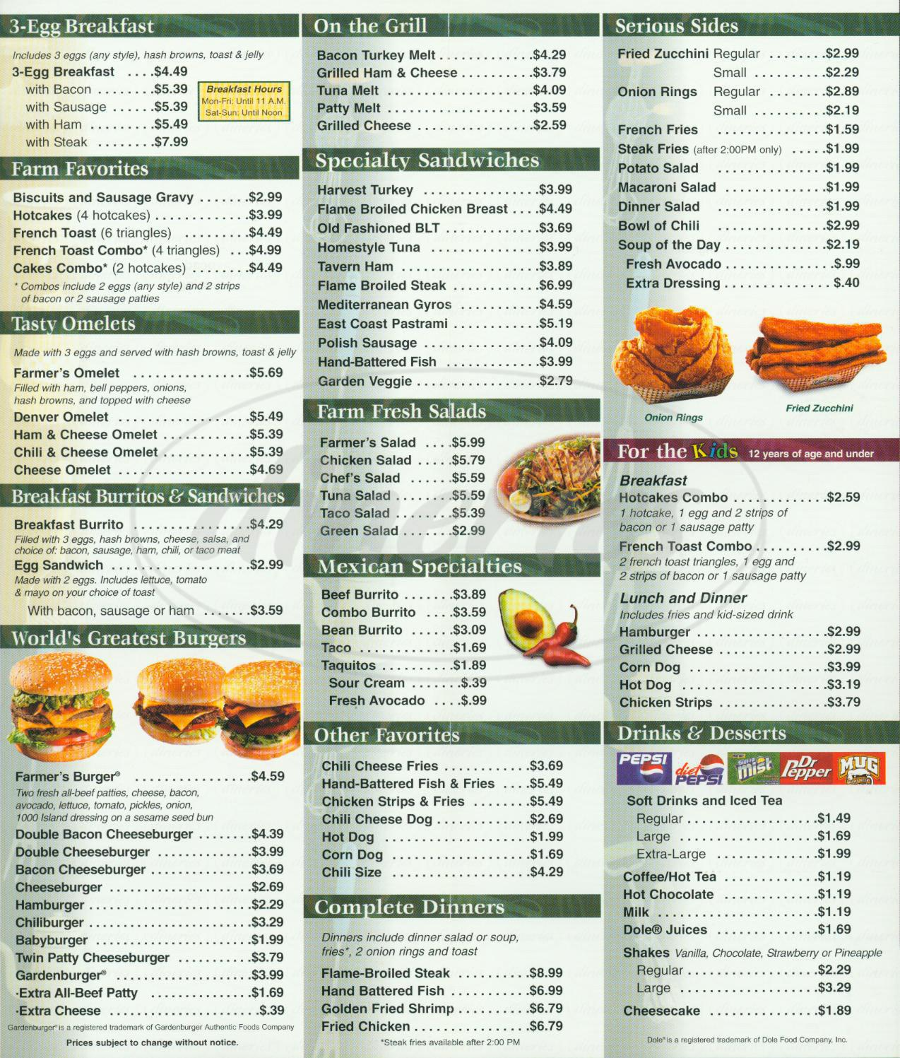 menu for Farmer Boys
