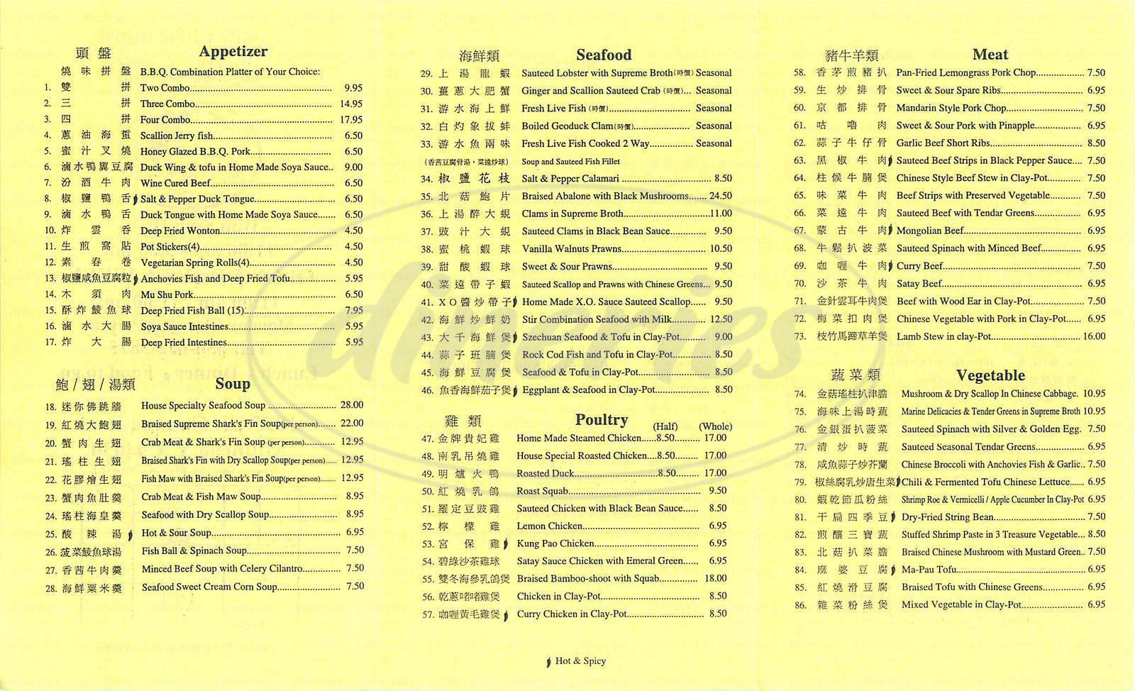 menu for Family China Bistro