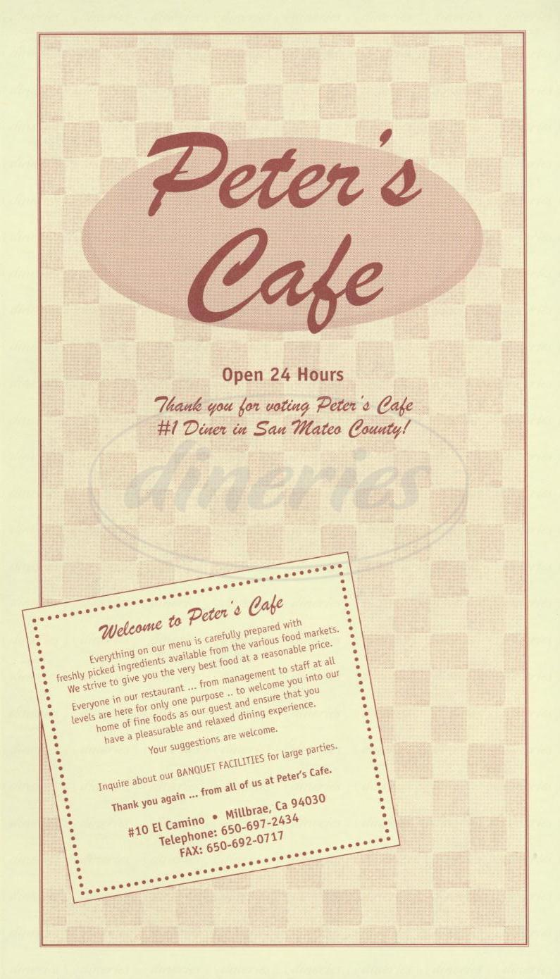 menu for Peters Café