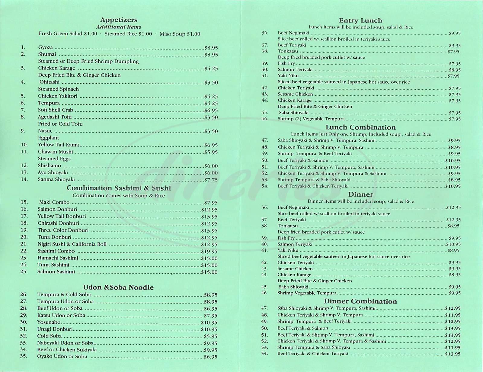 menu for Fuji San Sushi