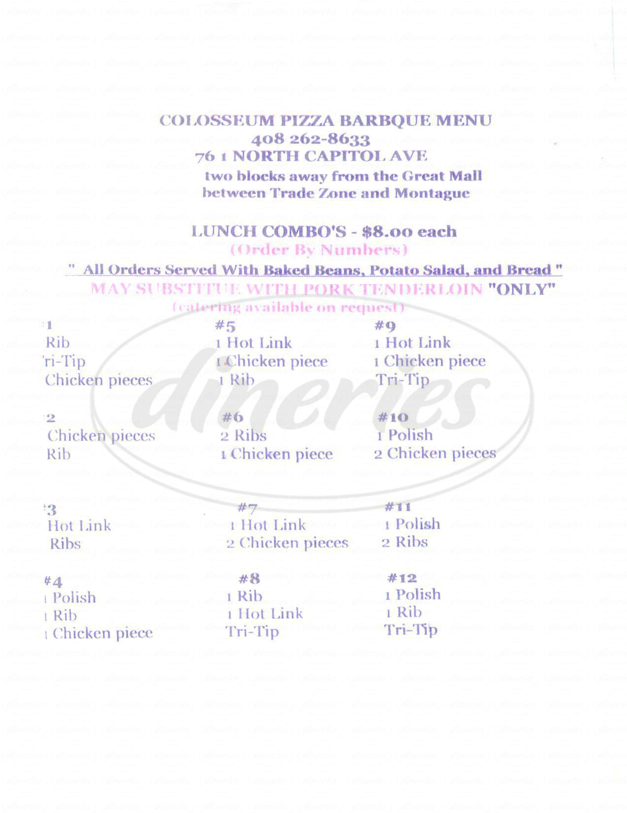menu for Colosseum Pizza