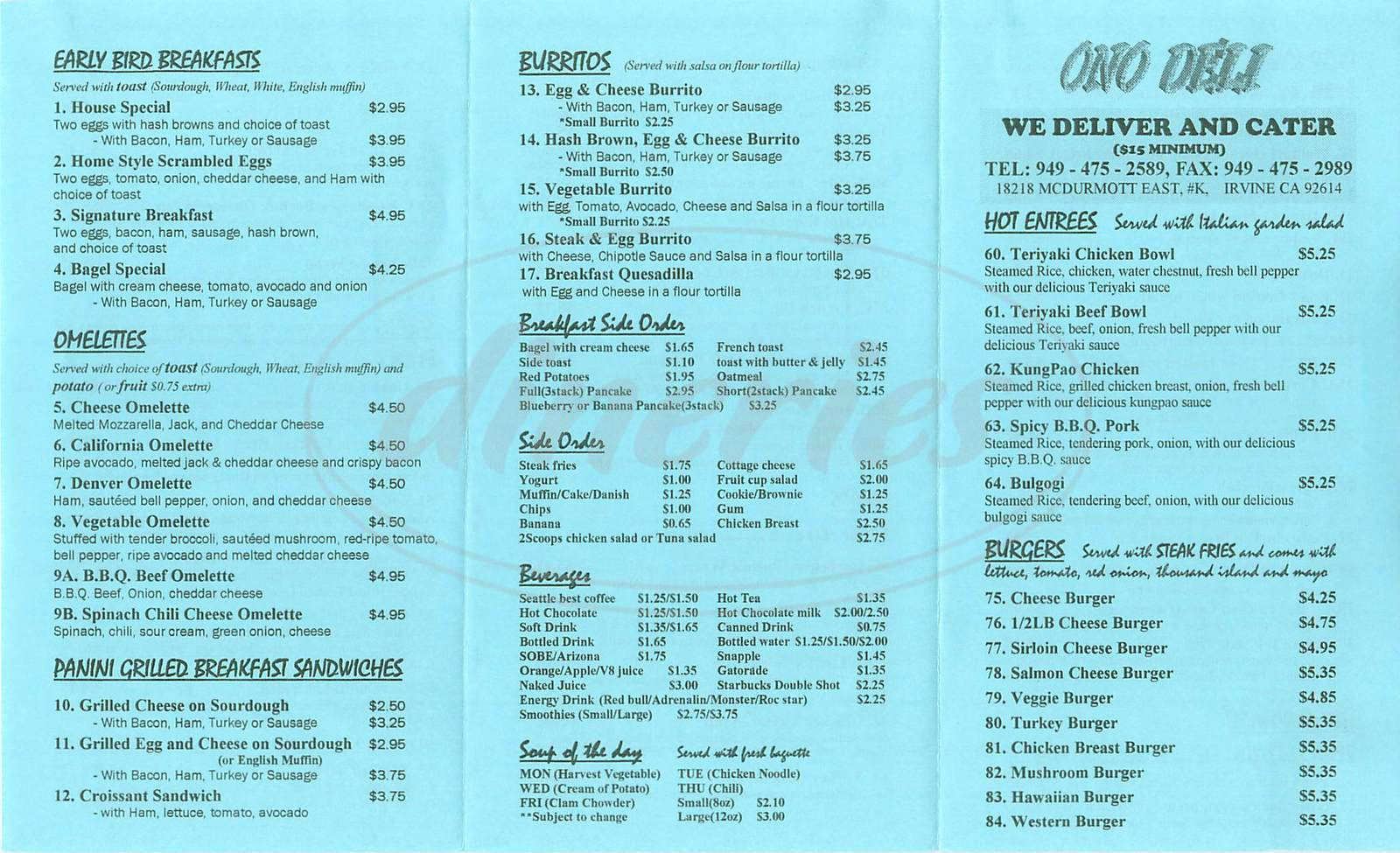 menu for Ono Café & Deli